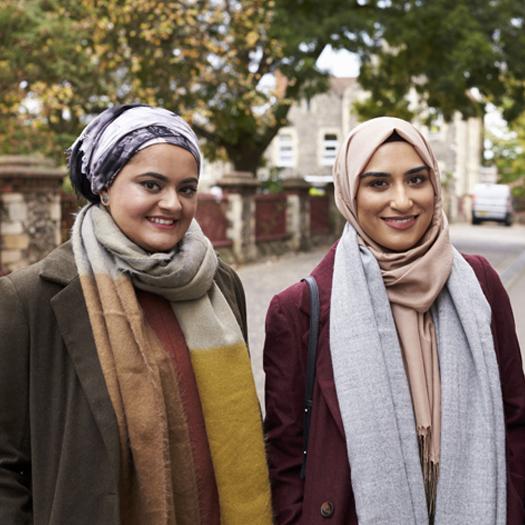 Portrait Of Muslim Female Friends In Urban Environment